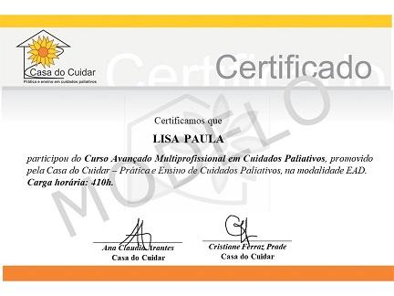 Modelo - Certificado curso avançado